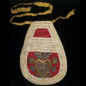 Embroidered satin pocket, Germany, 1775-1825. Museum no. 1437-1871