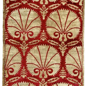 Velvet fabric with carnations, 1600-50. Museum no. 96-1878