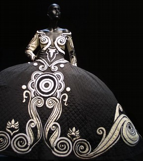 Theatre costume, Versace, 1987, black quilted satin and white satin with black and white applique