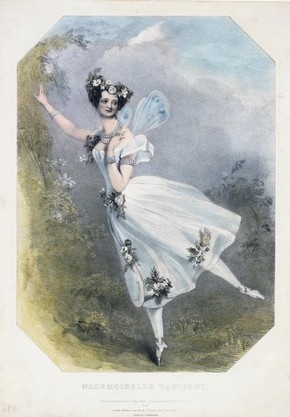 Marie Taglioni (1804 - 84) in the ballet Flore et Zephre, engraving by Richard James Lane (1800 - 72), after a drawing by Alfred Edward Chalon (1780 - 1860), hand-coloured engraving, England, 1831. Museum no. E.5055-1968