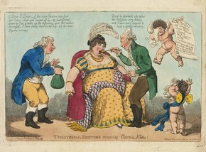 C. Williams, Theatrical Doctors recovering Clara's Notes!, hand-coloured etching, caricature of Elizabeth Billington, published by S. W. Fores, London, 1 January 1802. Museum no. S.4602-2009