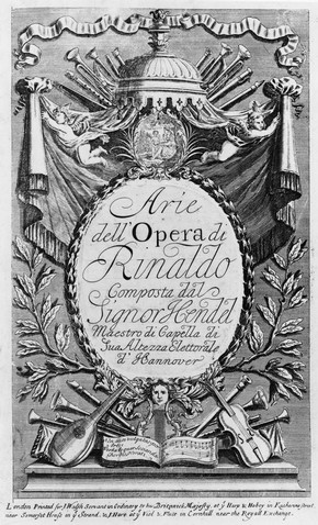 Music score cover for Handel's opera Rinaldo, London, 1711