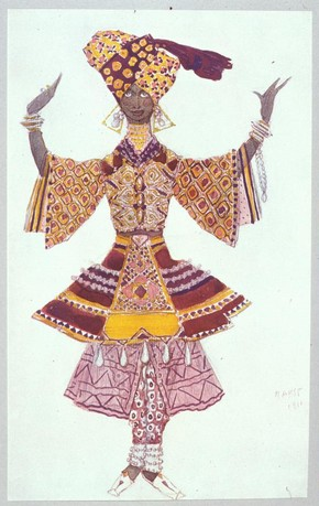 Costume design for a Temple Servant reproduced in the book The Decorative Art of Leon Bakst, London: The Fine Art Society, 1913. Museum no. ND699. B169