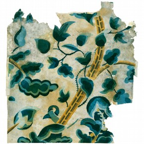 Fragment of wallpaper imitating crewel-work embroidery, probably about 1715-30. Museum no. E.517, 517A-1964