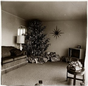 'Xmas tree in a living room, Levittown, L.I. 1963', photograph, Diane Arbus. Museum no. CIRC.309-1974