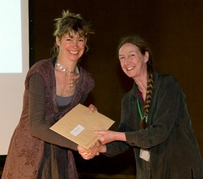 Sandra Haddock receiving the Museum of Childhood prize from Museum of childhood curator, Catherine Howell