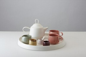 """Hartley"" Tea Set, Platter, Teapot, pair of tea cups, Either-way pourer, Sugar pot, Condiment pots with spoons, Thrown and assembled Porcelain, 42cms Ø x 25cms"