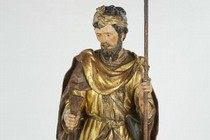 Painted wood sculpture of St Roch, about 1540–50, Museum no. A.66-1951