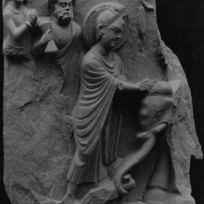 Relief panel showing the Buddha subduing the elephant Nalagiri, Takht-i-bahi. Museum no. IS.3302-18883