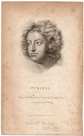 Engraving of Henry Purcell from portrait by Sir Geoffrey Kneller, November 1798