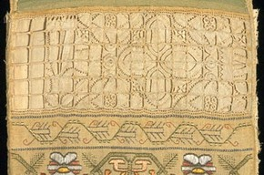 Sampler, Elizabeth Short, 1661. Museum no. T.131-1961. Given by Mrs Q. Toogood, in memory of C. R. Abbott