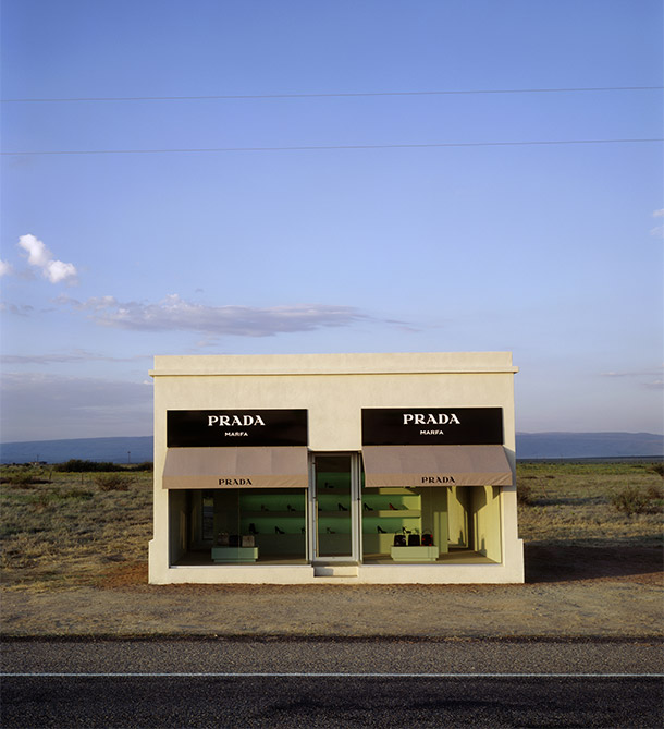 'Prada Marfa', Elmgreen & Dragset, Marfa, Texas, 2005. Photograph by Lizette Kabré / James Evans. Courtesy of Art Production Fund, New York; Ballroom Marfa, Marfa, Elmgreen & Dragset