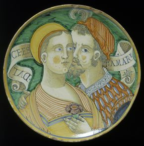 Tin-glazed earthenware plate with the inscription 'Dulce est amare' (Sweet is love), from the workshop of Giacomo Mancini, Deruta, Italy, about 1550. Museum no. C.2116-1910, © Victoria and Albert Museum, London