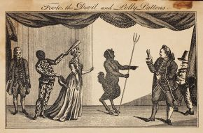 Foote, the Devil and Polly Pattens, The Macaroni & Theatrical Magazine, February 1773. Museum no. S.1004-2010. © Victoria and Albert Museum, London