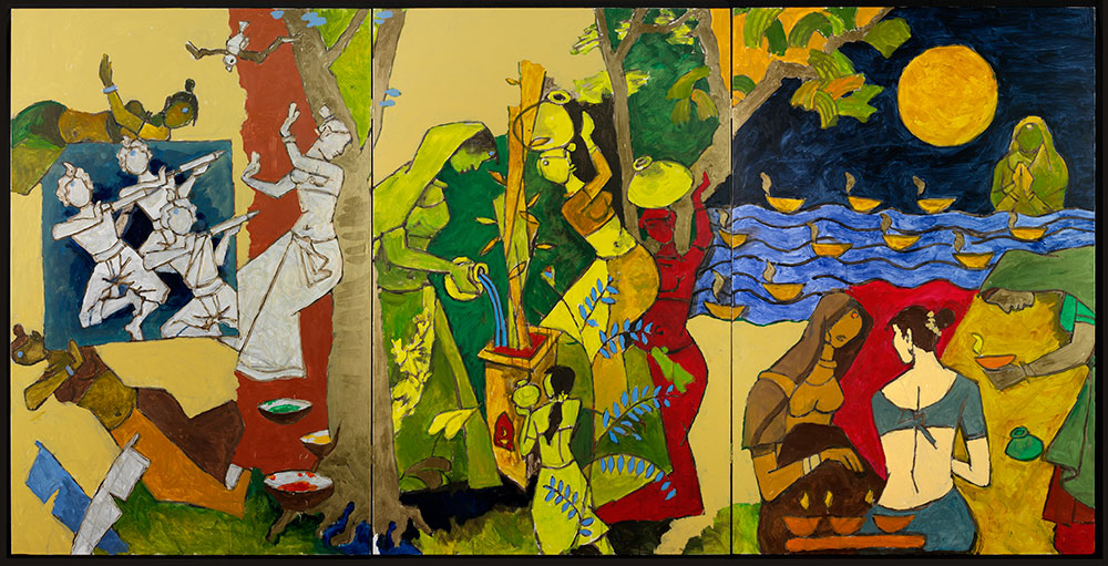 M.F. Husain, Traditional Indian Festivals, 2008-2011. Courtesy of Usha Mittal, © Victoria and Albert Museum, London