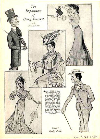 the importance of being earnest characters plot victoria and  caricatures of the cast by stanley parker 1939