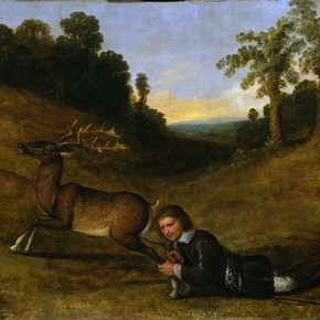 A Man Grasping the Hind Legs of a Stag, unknown artist, 17th century. Museum no. W.19-1945