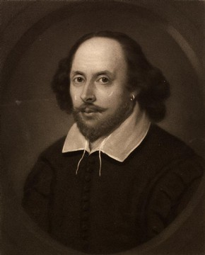 Print of William Shakespeare by Samuel Cousins, 1849. Museum no. DYCE.3164