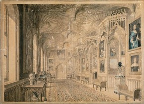 The Gallery at Strawberry Hill watercolour, Thomas Sandby, 1781, Museum no. D.1837-1904