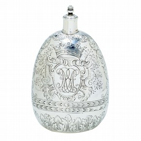 Spirit flask, unmarked, London, around 1690. Museum no. 10:1-2001