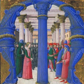 Girolamo da Cremona (illuminator), manuscript, St Giustina disputing with Maximian, water-based pigments, gilding and ink on parchment, Lombardy, ca 1462, purchased from Charles Fairfax Murray on 31 August 1894 for £100. Museum no. 817-1894
