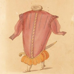 Ballet costume design for A Hocricane in La Douairère de Dillebahaut, watercolour drawing with handwritten annotation, France, 1626