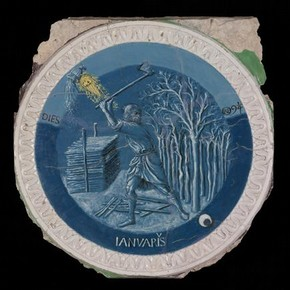 Roundel, January; The Labours of the Months, blue, white and yellow tin-glazed terracotta, Luca Della Robbia, Florence, about 1450-1456, purchased from the Gigli-Campana collection