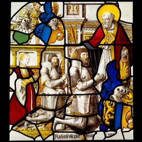 Painted and stained glass panel depicting Rabolt II von Plettenberg with his son and daughter-in-law, Mariawald Abbey, Germany, 1500-99. Museum no. C.320-1928