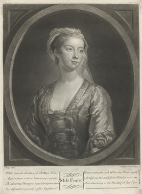 Lavinia Fenton as Polly Peachum in The Beggar's Opera, mezzotint print by John Faber (the Younger) after John Ellys, London, England, 1728, Harry Beard Collection. Museum no. S.3769-2009