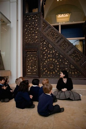 Schoolchildren in the Jameel Gallery of Islamic Art at the V&A
