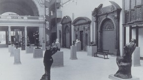 Room 48 at the V&A in 1914, showing the sculptures in the Rodin Gift as arranged by the sculptor himself.