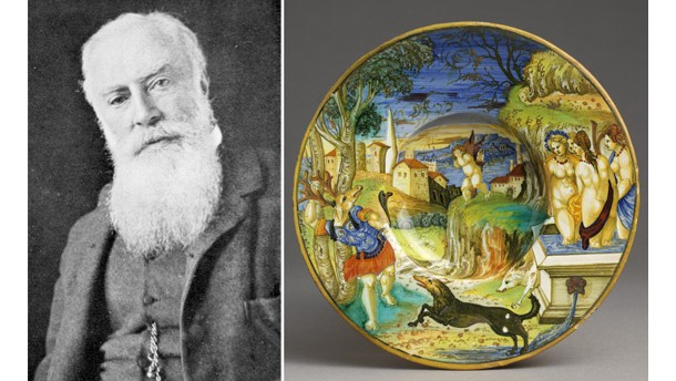 George Salting (1835 - 1909) and a maiolica bowl from his collection.