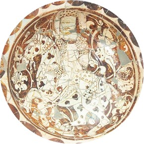 Lustre dish, Iran, late 12th century. Museum no. C.7-1947. After the overpainting of the 'restoration' had been removed