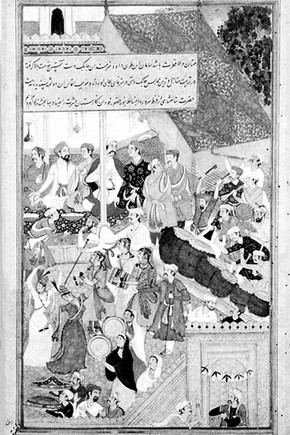 Leaf from Akbarnama album