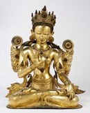 Seated figure of White Tara, consort of the fourth Dhyani Buddha, Tibet, 17th century. Museum no. IS.28-1919