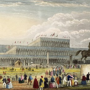 Great Exhibition showing the West End of Crystal Palace, Plate 12 of 'Rememberances; The Great Exhibition of All Races'. Museum no. NAL 257585