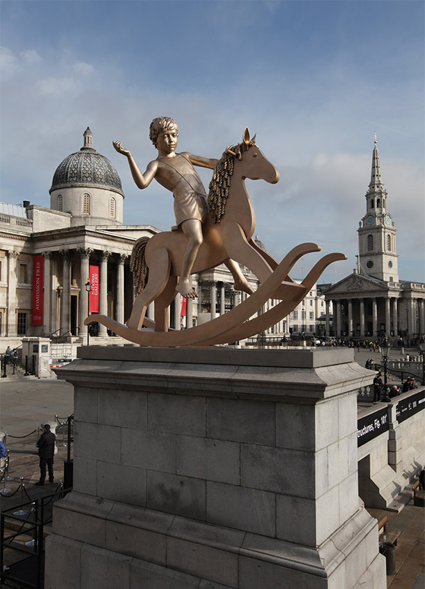 'Powerless Structures, Fig. 101', cast bronze, The Fourth Plinth, Trafalgar Square, London, 2012. Photograph by James O Jenkins