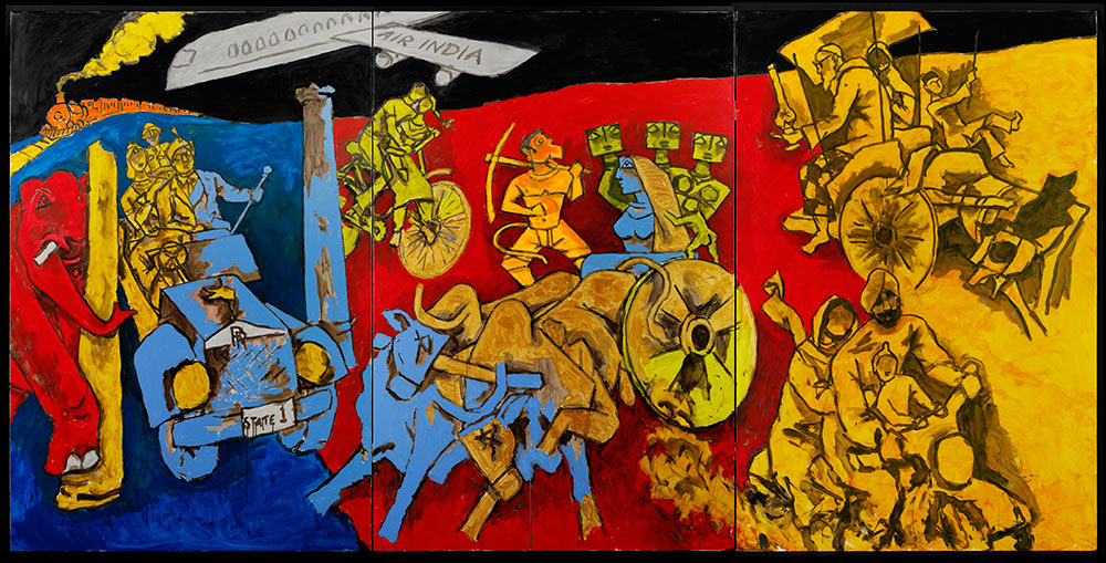 M.F. Husain, Modes of Transport, 2008-2011. Courtesy of Usha Mittal © Victoria and Albert Museum, London