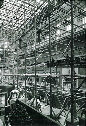 Cast Courts with scaffolding, undergoing renovation in the 1920s