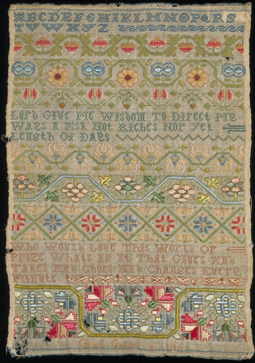 Wool sampler embroidered with silk, by Grace Catlin, England, 1719. Museum  no