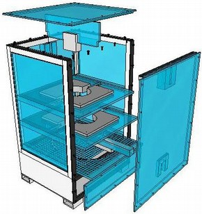 Figure 3 - Exploded view of final box design. Drawing by Roger Murray