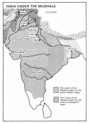 Map showing the areas of India under Mughal rule