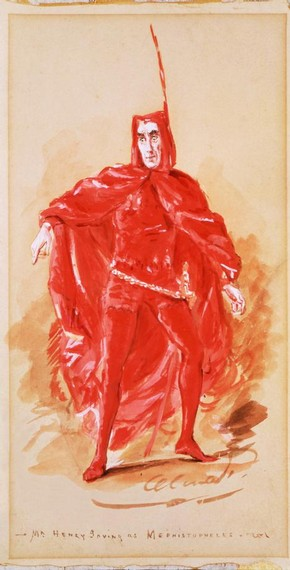 Henry Irving (1838-1905) as Mephistopheles in Faust, watercolour on paper, London, England, about 1885. © Victoria & Albert Museum, London