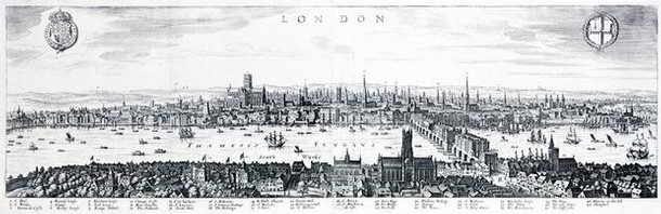London, looking north across the River Thames from the South Bank, engraving by Claes Jansz Visscher, London, 1616.