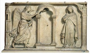 'The Annunciation', marble panel-relief by Arnolfo di Cambio, Florence, Italy, about 1300. Museum no. 7563-1861, © Victoria and Albert Museum, London