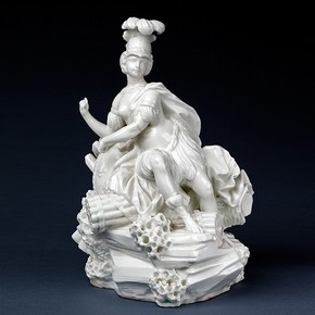 Porcelain figure of La France as War, Vincennes porcelain factory, France, 1750-1752. Museum no. C.199-1984