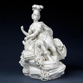 Porcelain figure of La France as War, Vincennes porcelain factory, France, 1750-1752. Museum no. C.199-1984