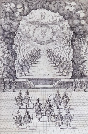 Engraving of a court ballet, Vlasislav Hall, Prague Castle, Czech Republic, 1617