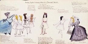 Madame Taglioni's Dancing Class, ink and watercolour on paper, late 19th century