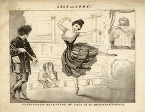 Lola Montez, The Herald Newpaper, monochrome lithographic print, about 1840